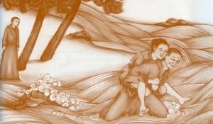 Monk-woman-stream