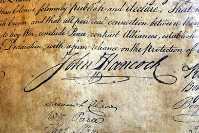 Portion of the US Declaration of Independence - they got a lot done without the help of keyboards and inkjet printers.